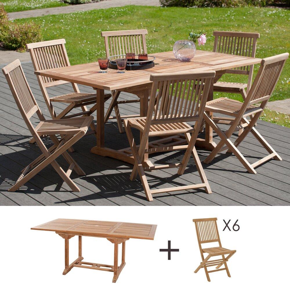Meuble de jardin - Ensemble 1 table rectangulaire 120*180/90 cm + 3 lots de 2 chaises photo 1