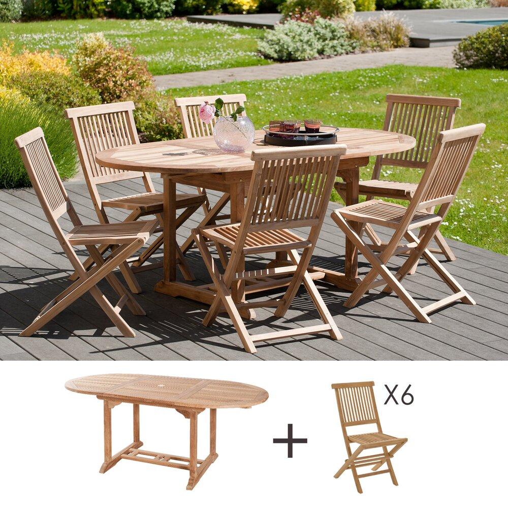Meuble de jardin - Ensemble 1 table ovale 120*180/90 cm + 3 lots de 2 chaises photo 1
