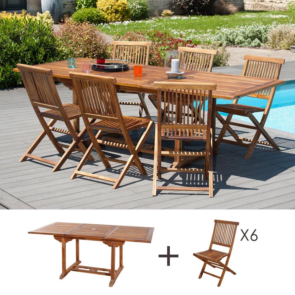 Meuble de jardin - Ensemble 1 table rectangulaire 180*240/100 cm + 3 lots de 2 chaises photo 1