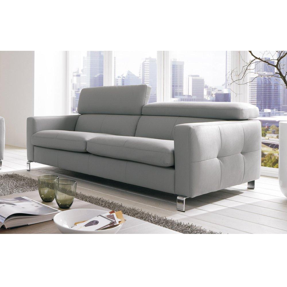 Canapé - Canapé 3 places avec têtières réglables en PU gris et pieds métal photo 1