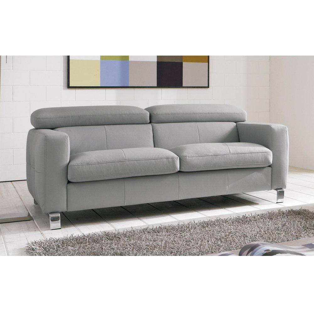 Canapé - Canapé 2,5 places avec têtières réglables en PU gris photo 1