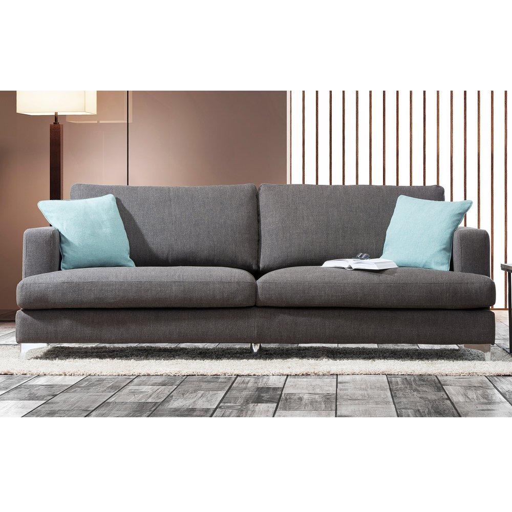 Canapé - Canapé 3 places en tissu gris et pieds en métal photo 1
