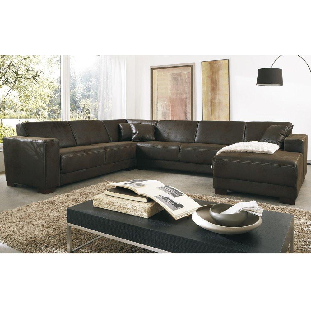 Canapé - Canapé d'angle en U  en tissu chocolat et pieds en bois photo 1