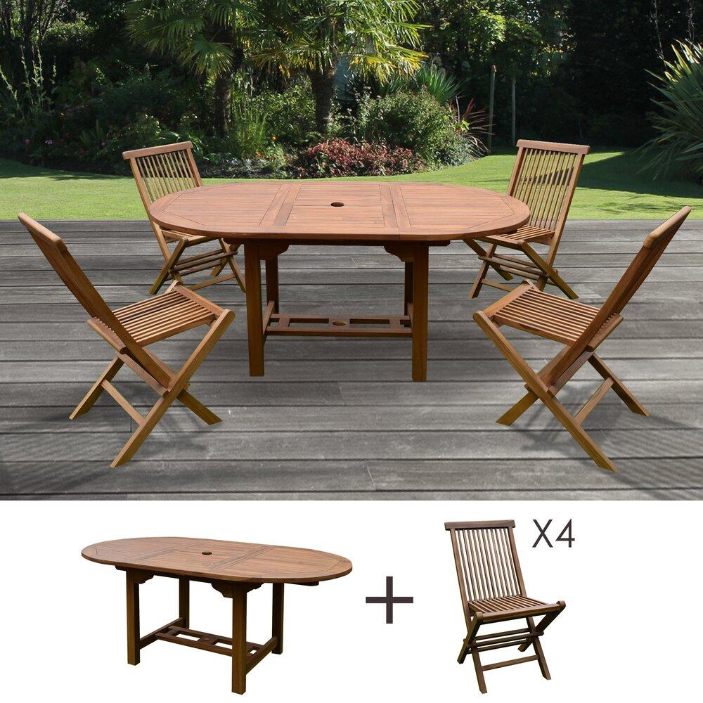 Plein air - jardin - Table de jardin 120/170x100x75 + lot de 4 chaises photo 1