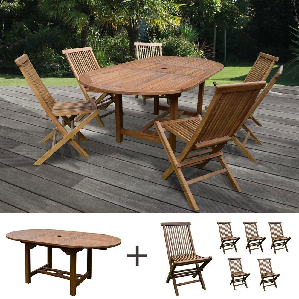Plein air - jardin - Table de jardin 160/210x100x75cm + lot de 6 chaises photo 1