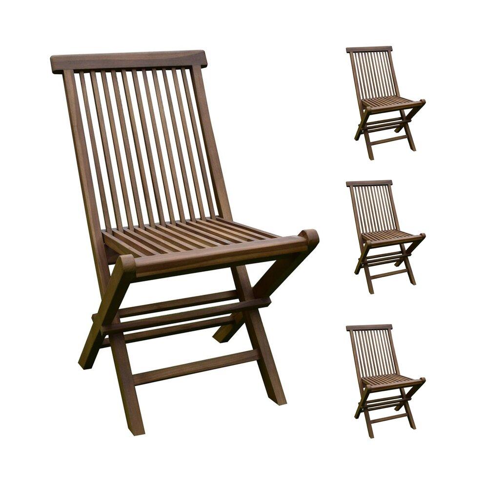 Plein air - jardin - Lot de 4 chaises en teck pliables photo 1
