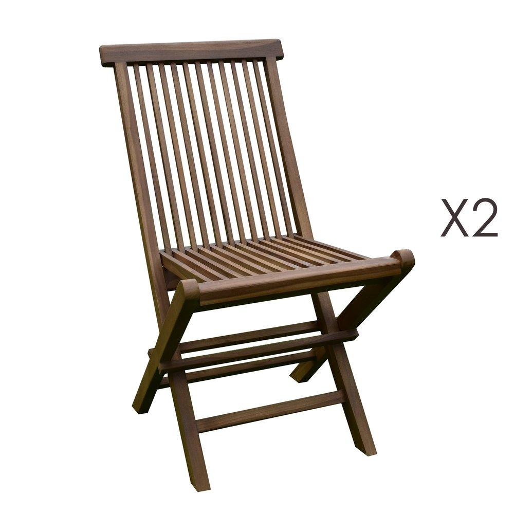 Plein air - jardin - Lot de 2 chaises en teck pliables photo 1