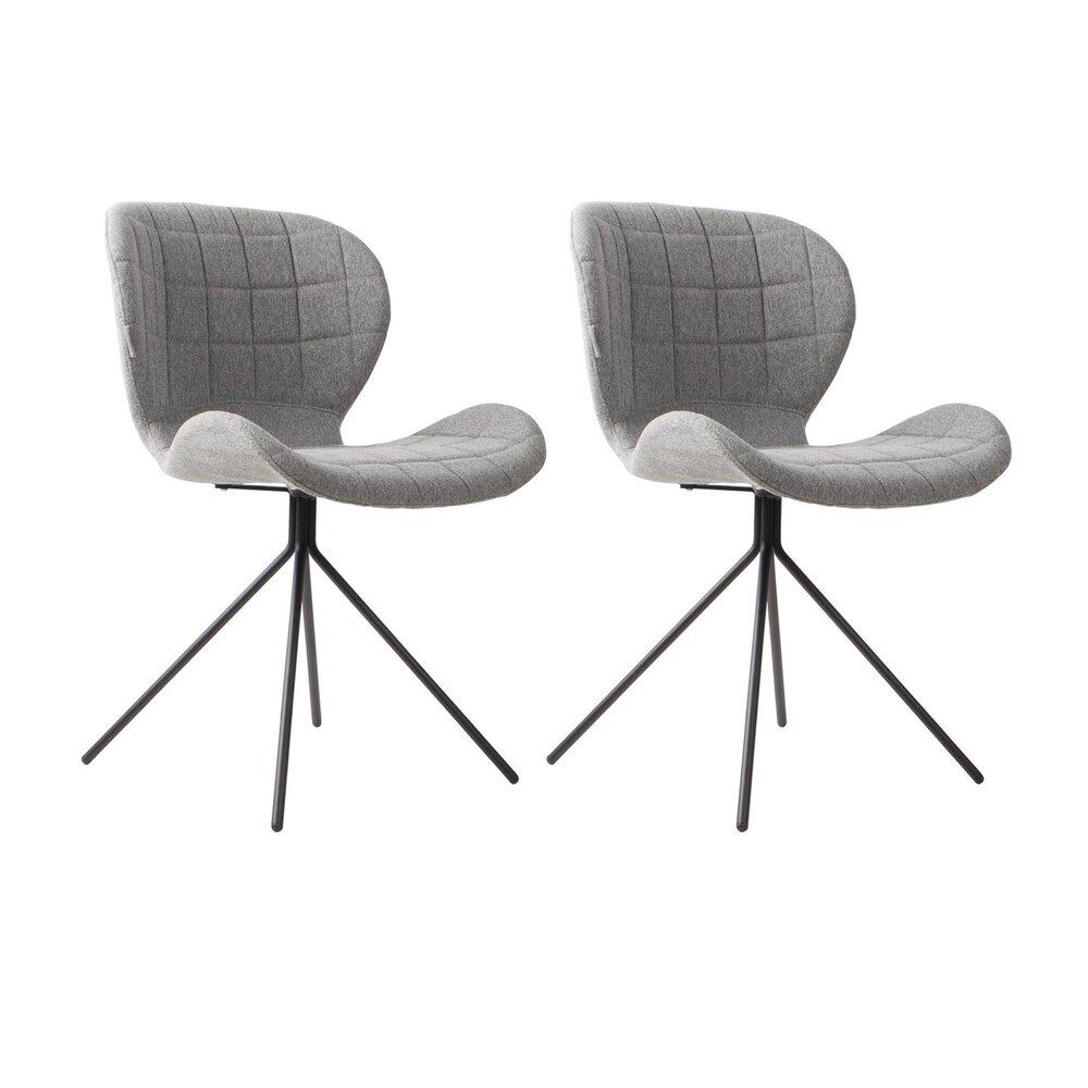 Chaise - Lot de 2 chaises vintage en tissu gris - OMG photo 1