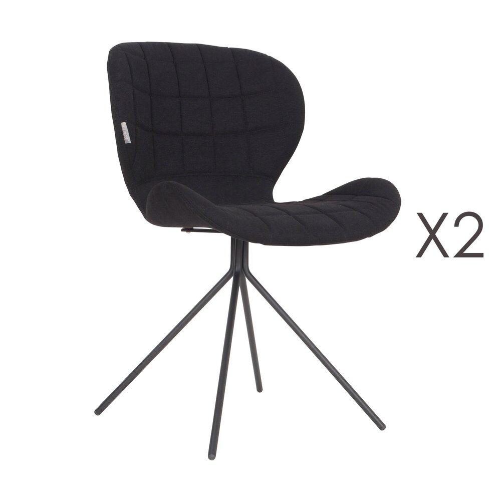 Chaise - Lot de 2 chaises vintage en tissu noir - OMG photo 1