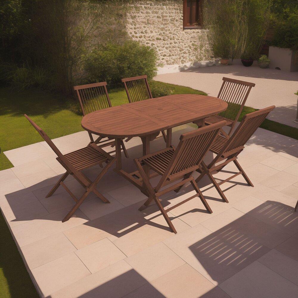Plein air - jardin - Table de jardin 120/170x100x75 + lot de 6 chaises photo 1