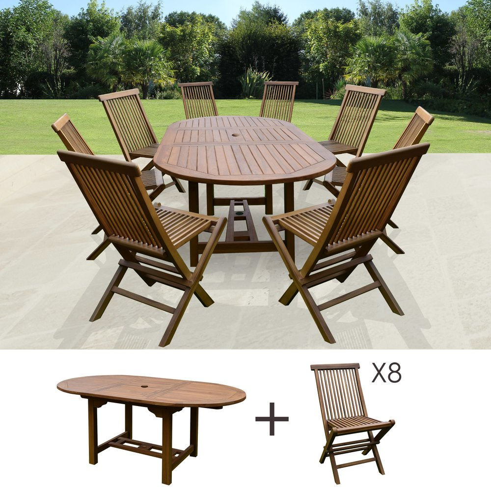 Meuble de jardin - Table de jardin 160/210x100x75cm + lot de 8 chaises photo 1