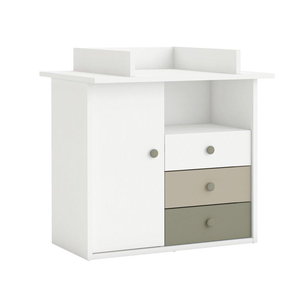 Commode A Langer Angle commode à langer 1 porte 3 tiroirs 1 niche | maison et styles