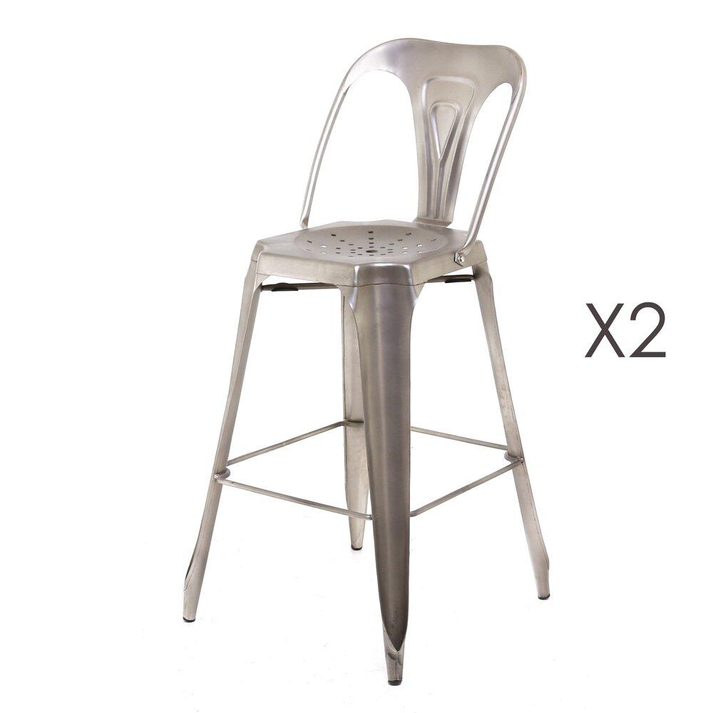Tabouret de bar - Lot de 2 Chaises de bar argent - TALY photo 1