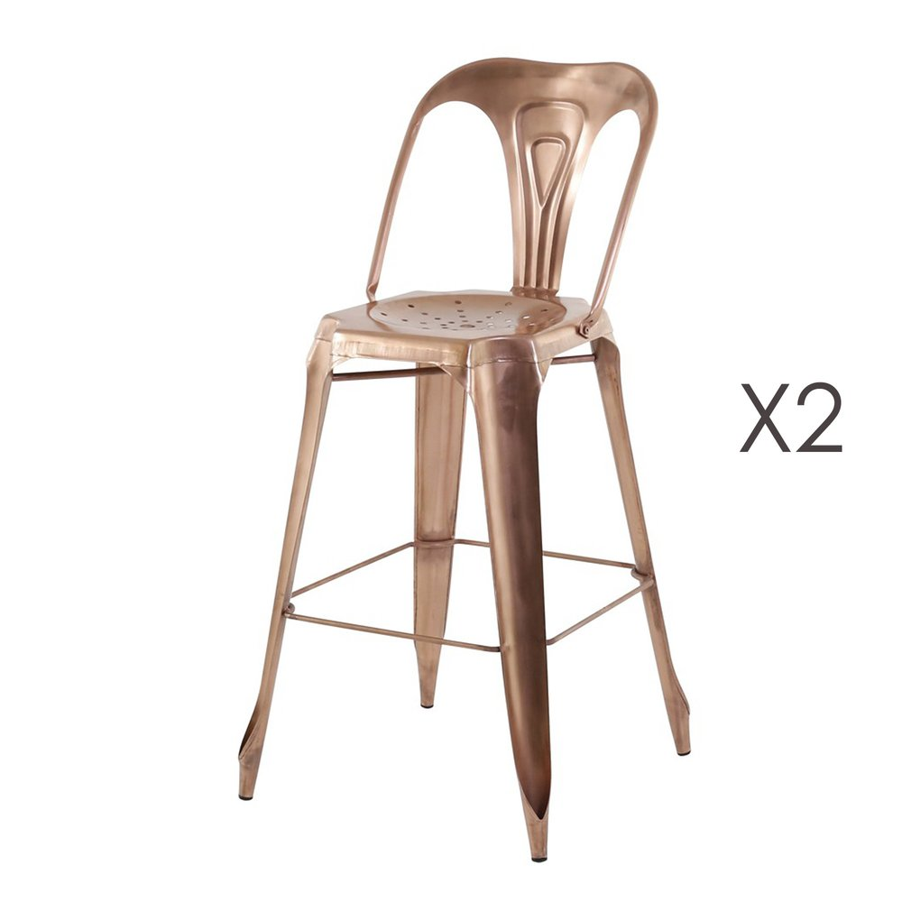 Tabouret de bar - Lot de 2 Chaises de bar cuivre - TALY photo 1