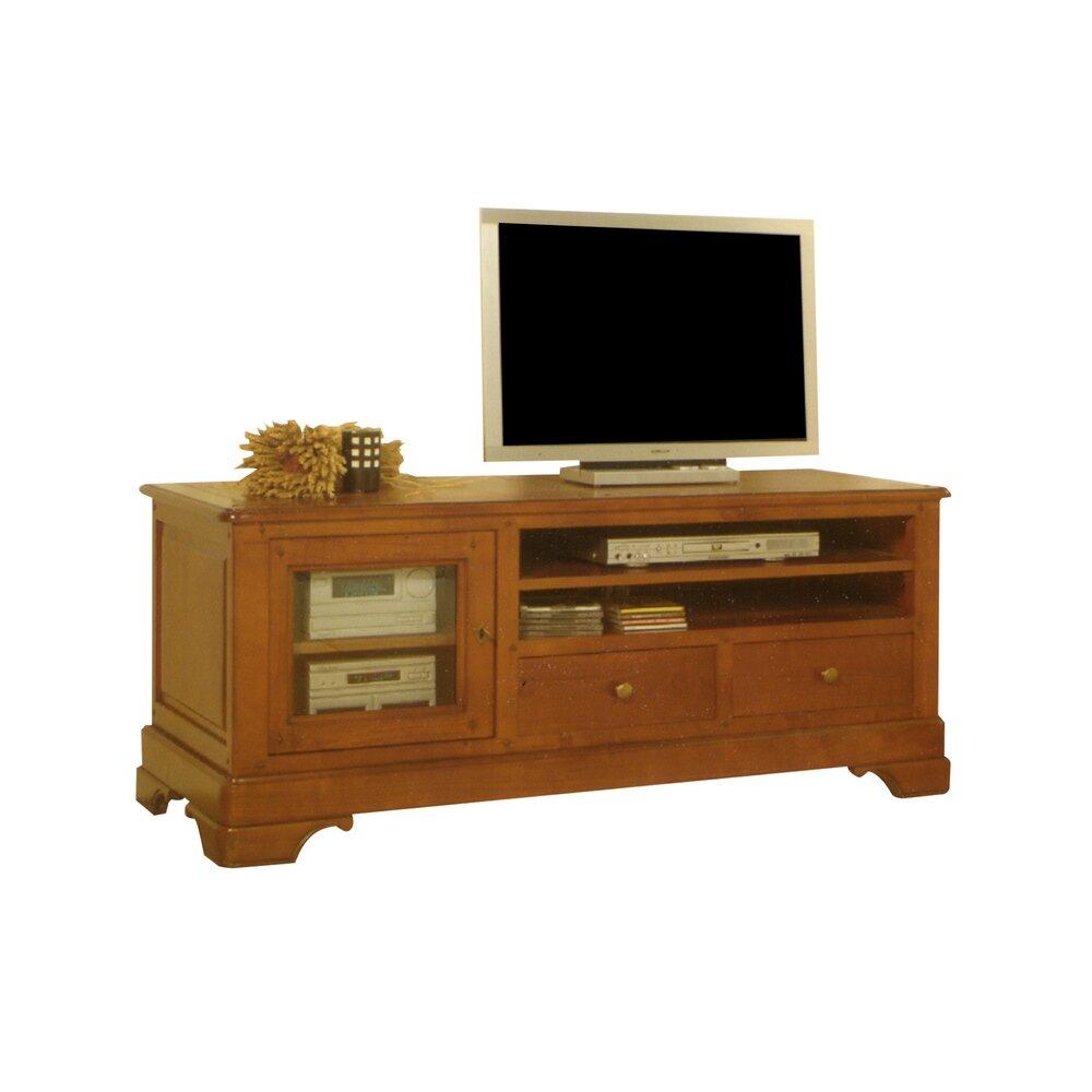 Meuble Tv Hifi Intégré meuble tv 1 porte 2 tiroirs 2 niches en chêne massif