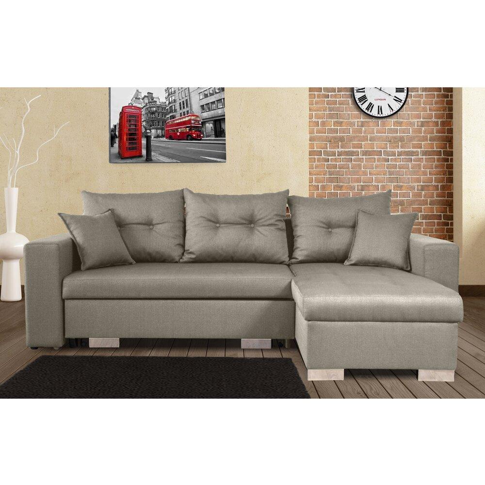 Canapé - Canapé d'angle à droite convertible avec coffre gris clair - AMINA photo 1