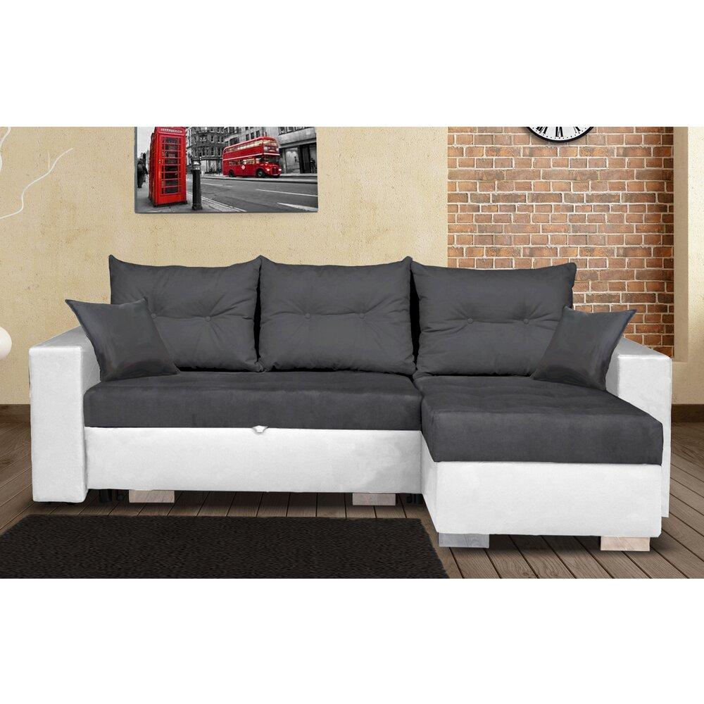 Canapé - Canapé d'angle à droite convertible avec coffre blanc et gris - AMINA photo 1