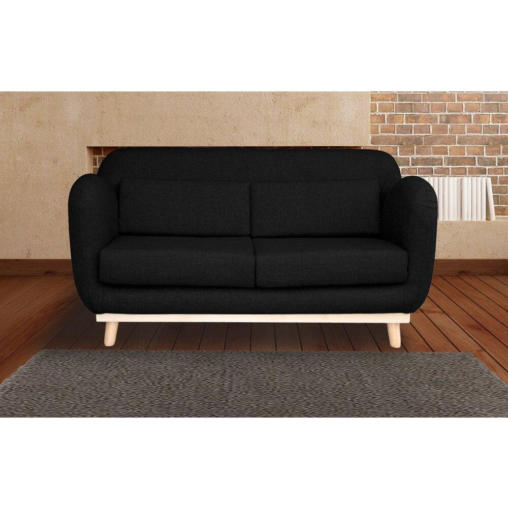 Canapé - Canapé 2 places fixes pieds bois en tissu - coloris noir photo 1