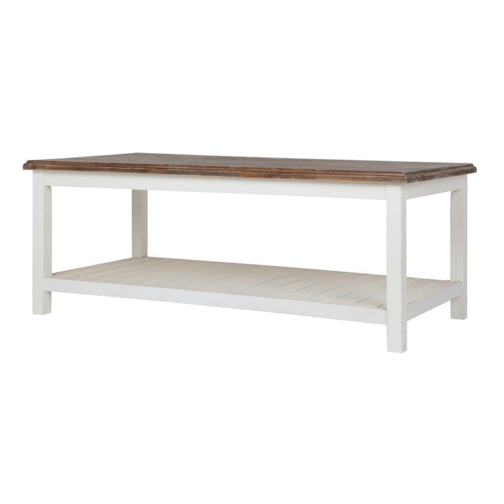 Table basse table d/'appoint Blanc Marron Maison de campagne table en bois Robuste Tablette