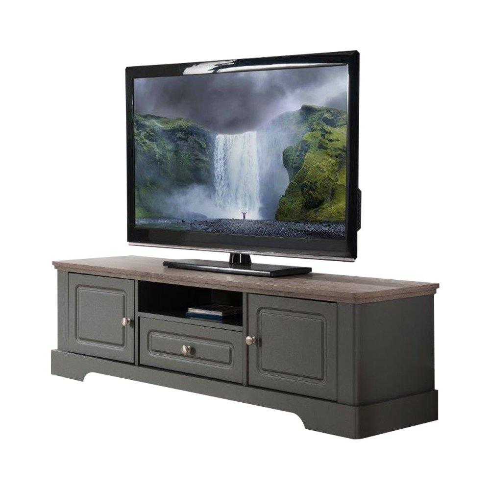 Meuble TV - Hifi - Meuble TV 2 portes 1 tiroir 1 niche taupe et naturel - YAMAE photo 1