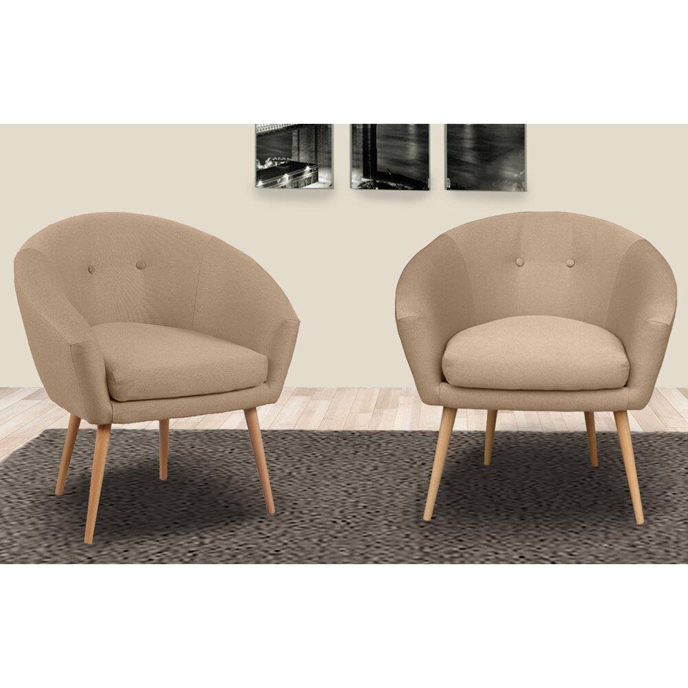 Fauteuil - Lot de 2 fauteuils dossier arrondi en tissu ficelle - AVENTY photo 1