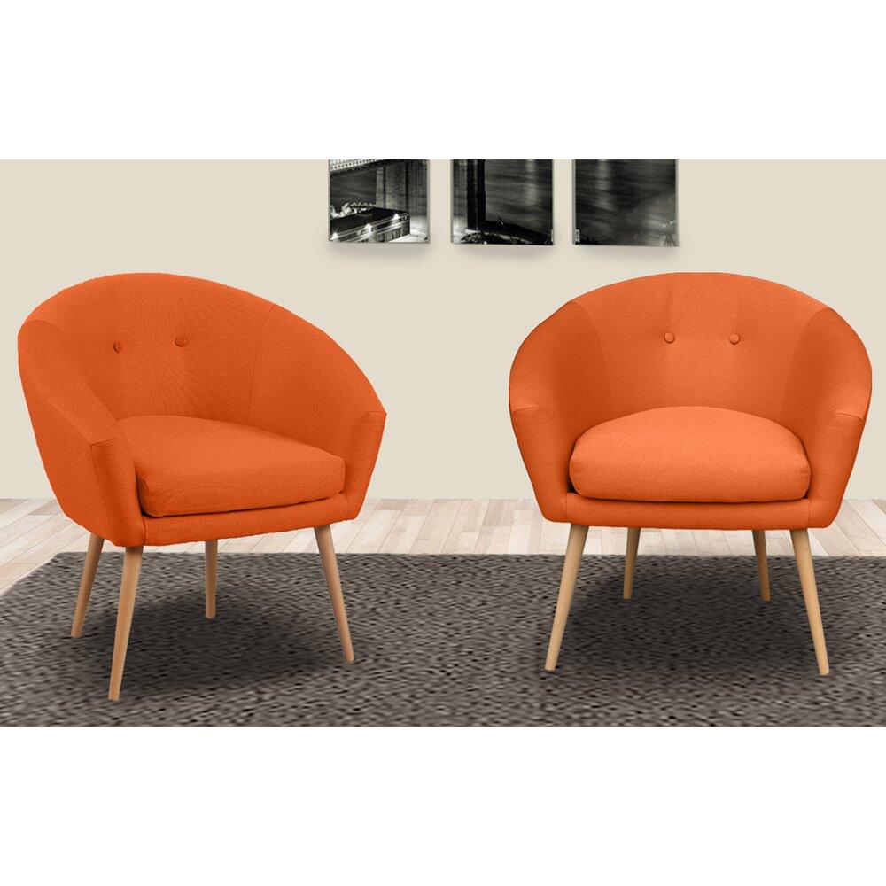 Fauteuil - Lot de 2 fauteuils dossier arrondi en tissu orangé - AVENTY photo 1