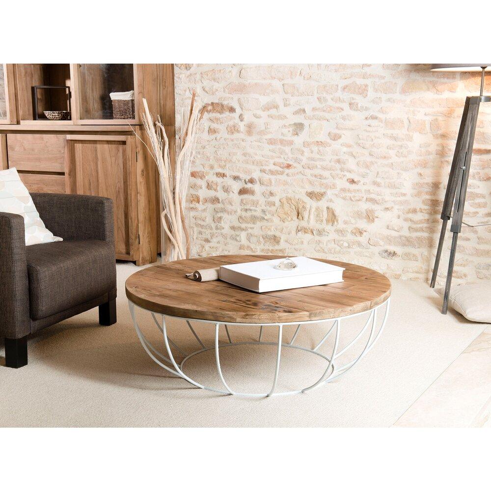 Table basse - Table basse coque blanche 100x100 cm en teck recyclé - APPOLINE photo 1