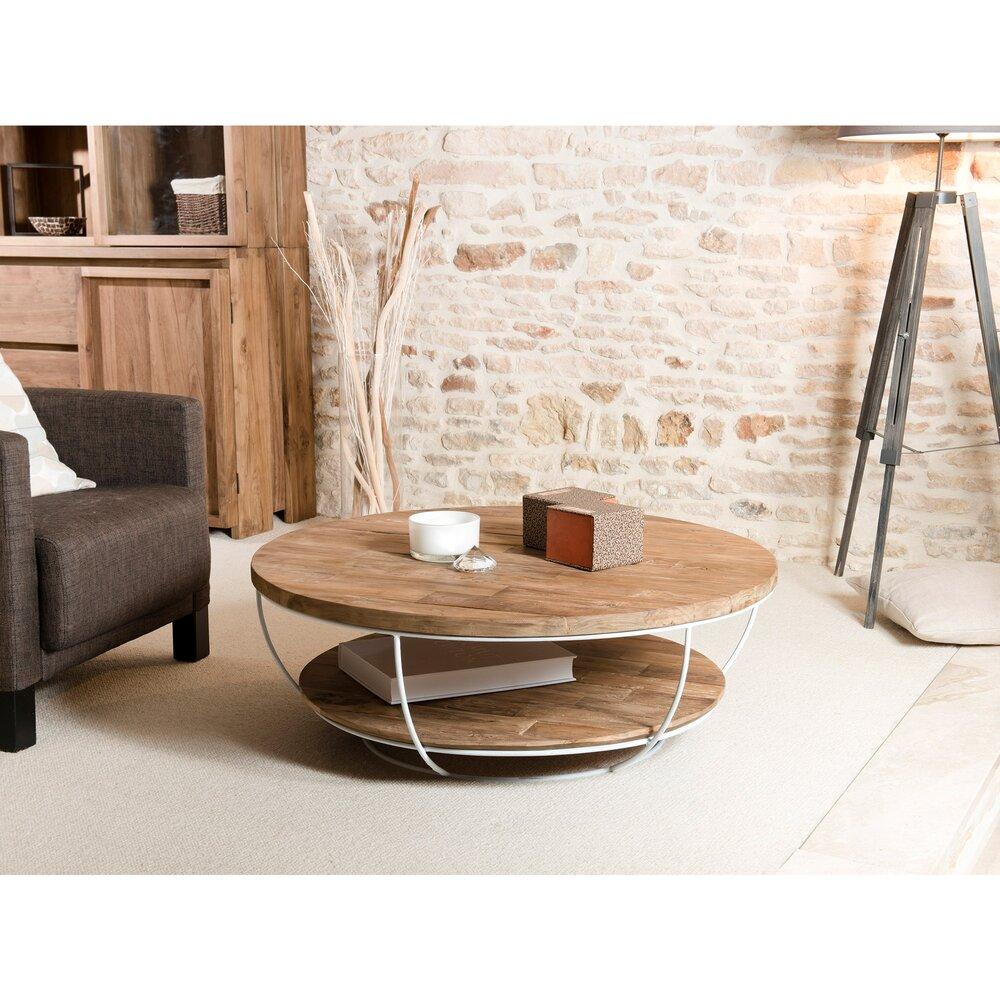 Table basse - Table basse coque blanche double plateau en teck recyclé - APPOLINE photo 1