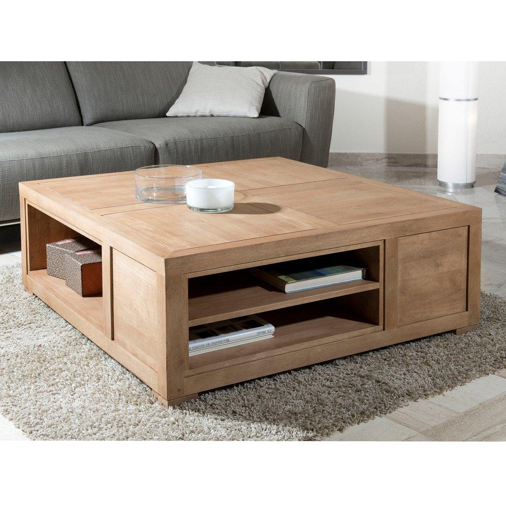 Table Basse Carree Avec Niches De Rangement Hambourg Bois Naturel Maison Et Styles