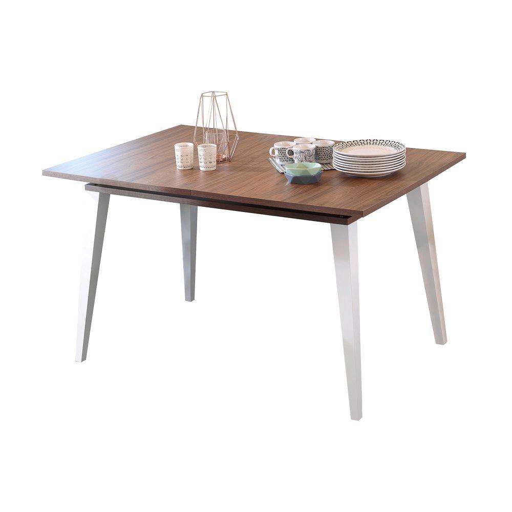 Table - Table à manger avec 1 allonge en noyer et blanc - STORAN photo 1