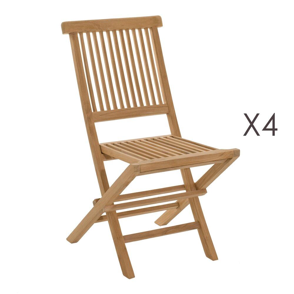 Meuble de jardin - Lot de 4 chaises en teck blanchi pliables photo 1