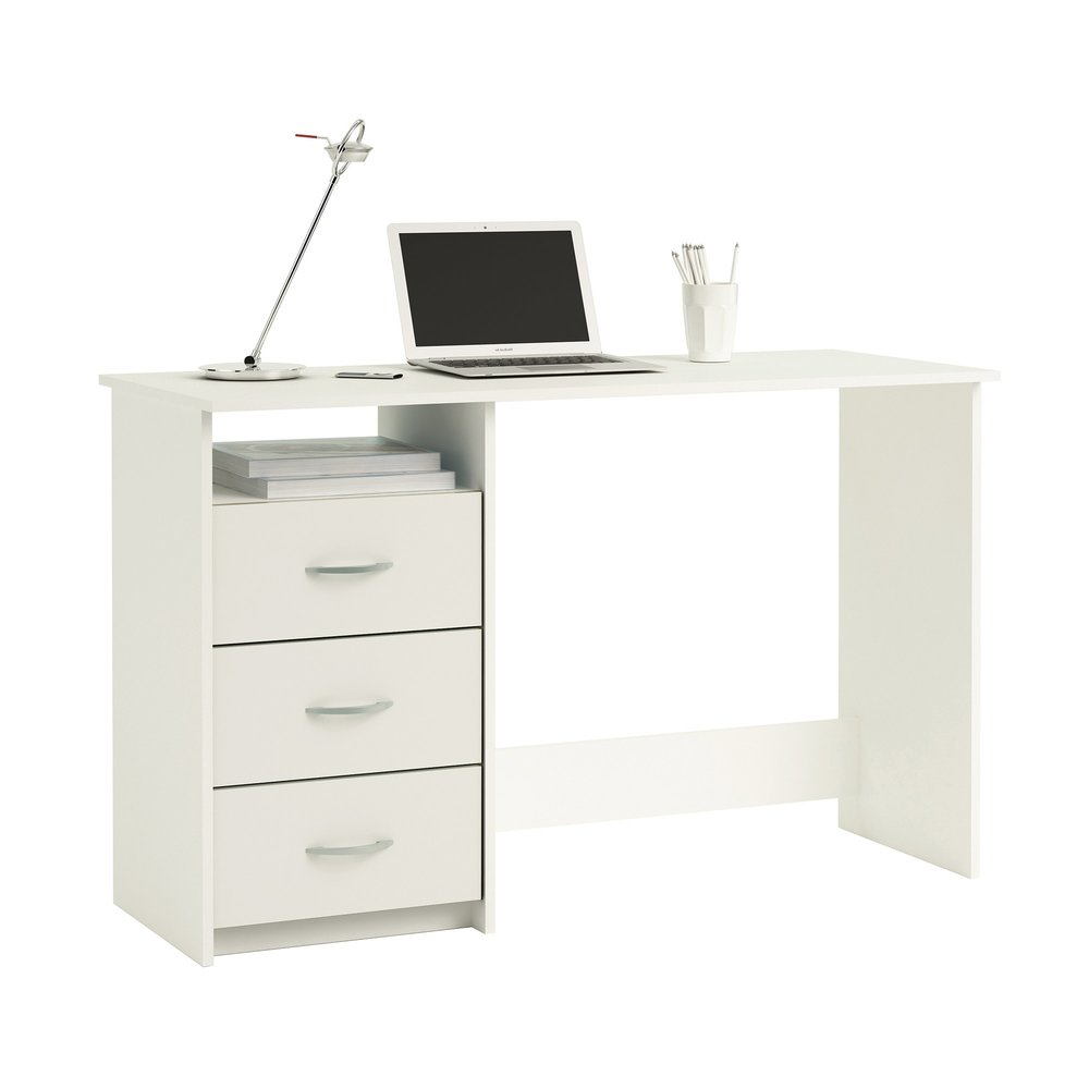 Bureau - Bureau 1 niche et 3 tiroirs blanc photo 1