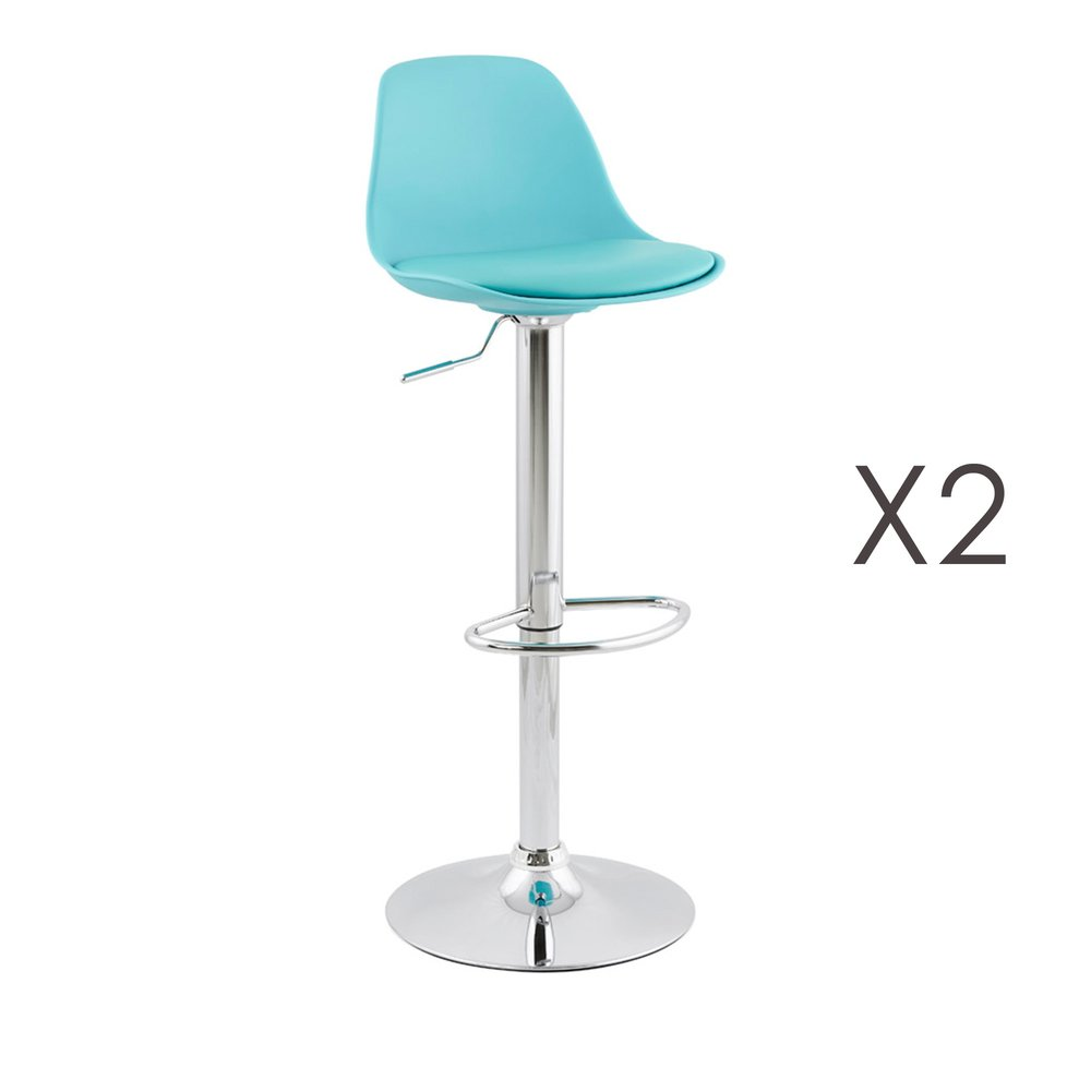 Tabouret de bar - Lot de 2 tabourets de bar design 39x42x104cm Bleu - SUK photo 1