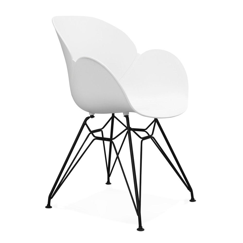 Chaise - Fauteuil design piétement métal blanc - UMILA photo 1