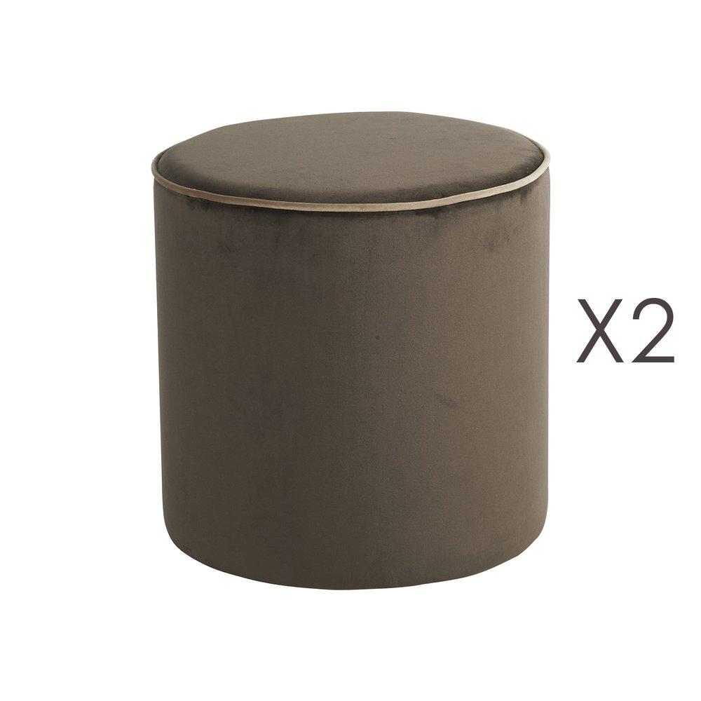 Pouf - Lot de 2 poufs Countra Marron/Beige Diam40xH40cm photo 1