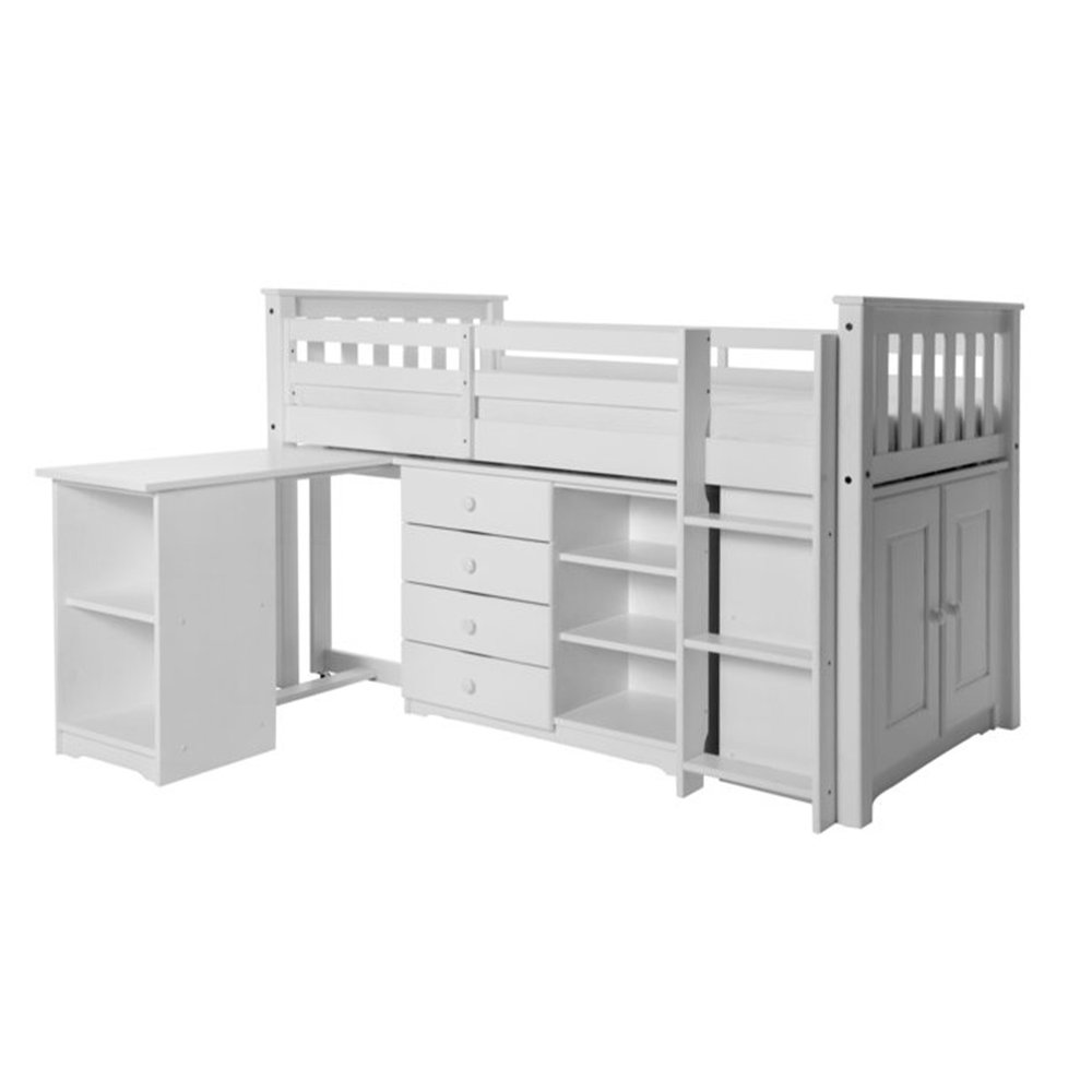 Lit enfant - Lit mezzannine 90x190cm + bureau + commode 4 tiroirs en pin massif blanc photo 1