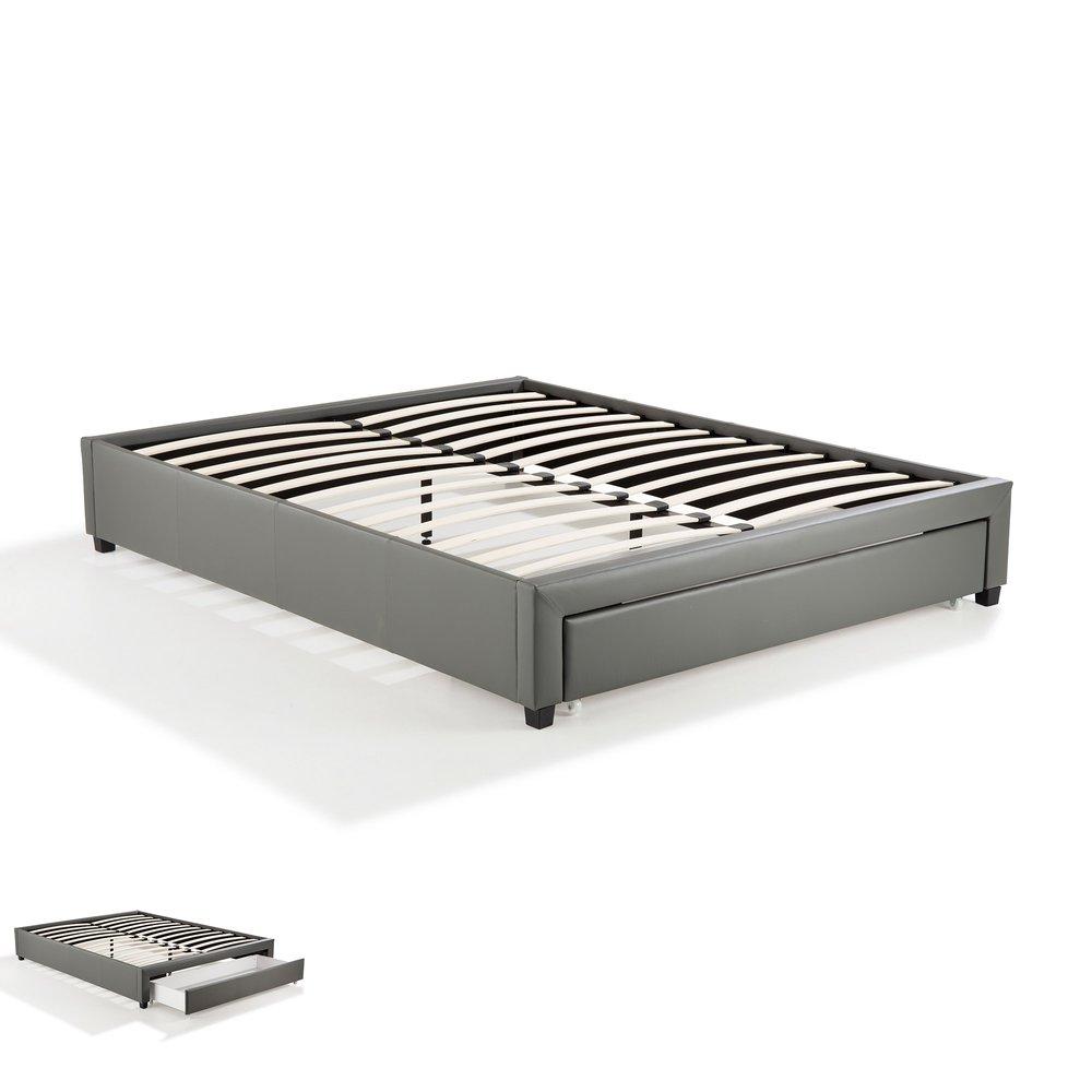 Lit - Cadre lit 160x200 avec tiroir gris - DRAWY photo 1