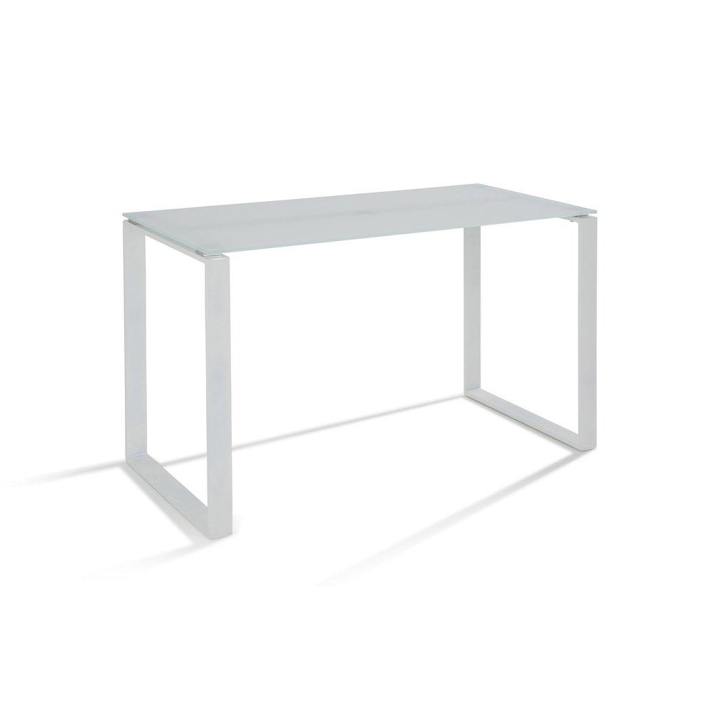 Bureau en acier plateau verre tremp coloris blanc - Plateau verre trempe bureau ...