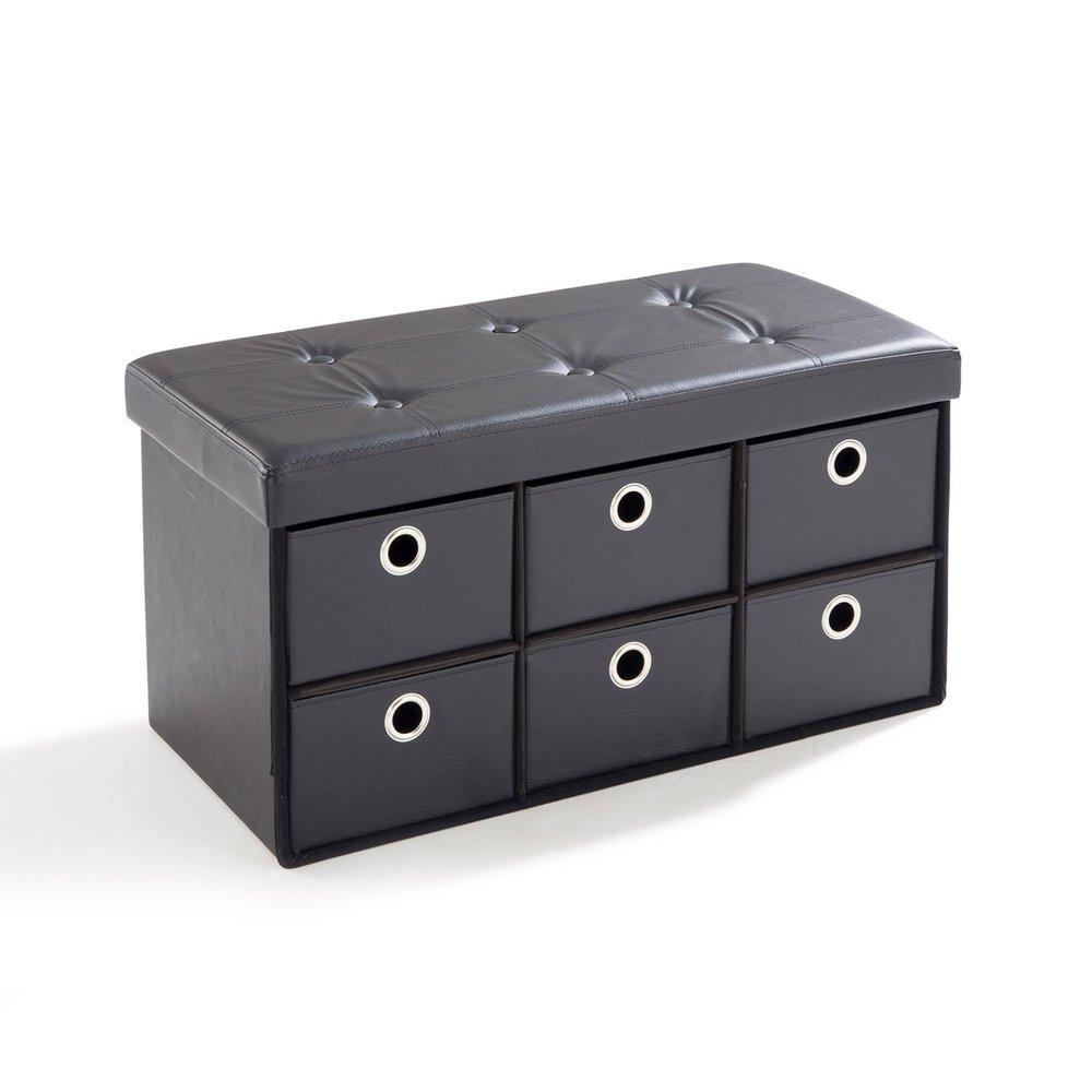 Pouf - Pouf PVC avec tiroirs de rangement noir photo 1