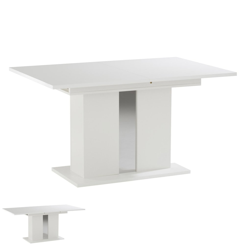 table a manger extensible 140 180 x 90 x 74cm laquee blanc