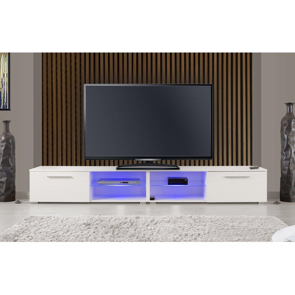 Meuble Tv Hifi Intégré meuble tv 2 portes 240 cm blanc avec leds | maison et styles