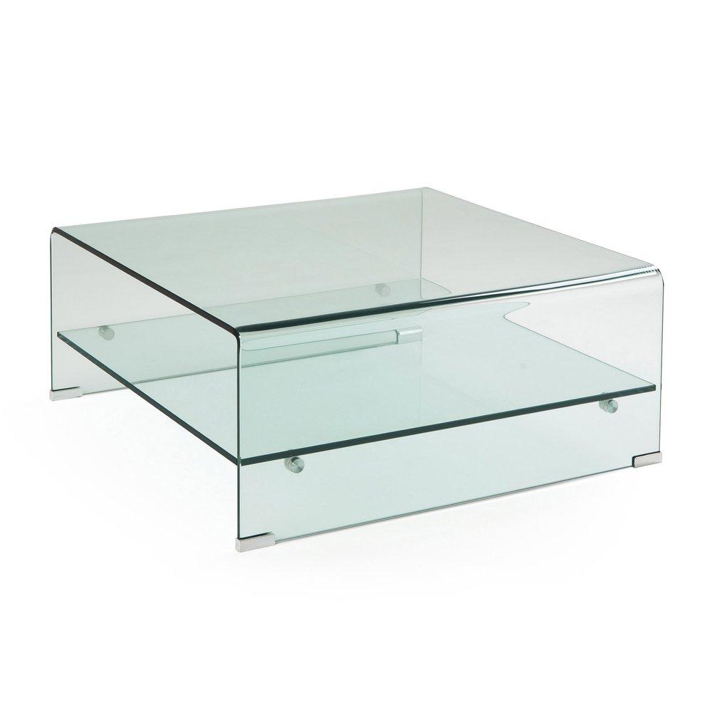 Table basse carrée 7 cm en verre trempé - VIDRO