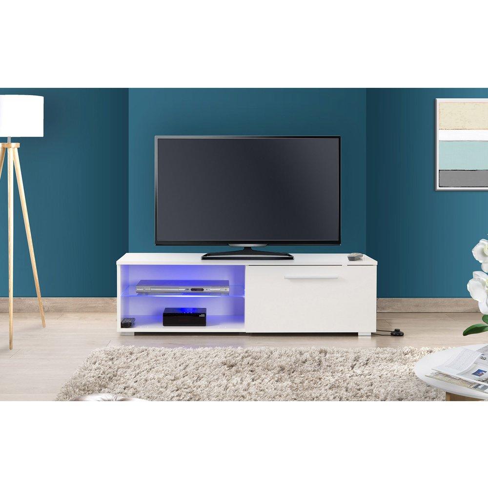 Meuble Tv 120 Cm Avec Led Blanc Tays Maison Et Styles