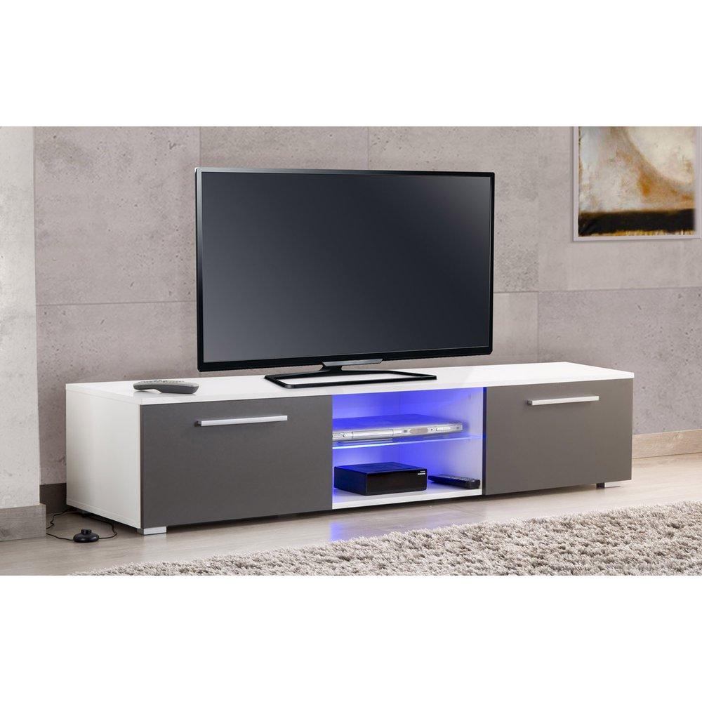 Meuble Tv Avec Led Blanc Et Gris Usaha Maison Et Styles