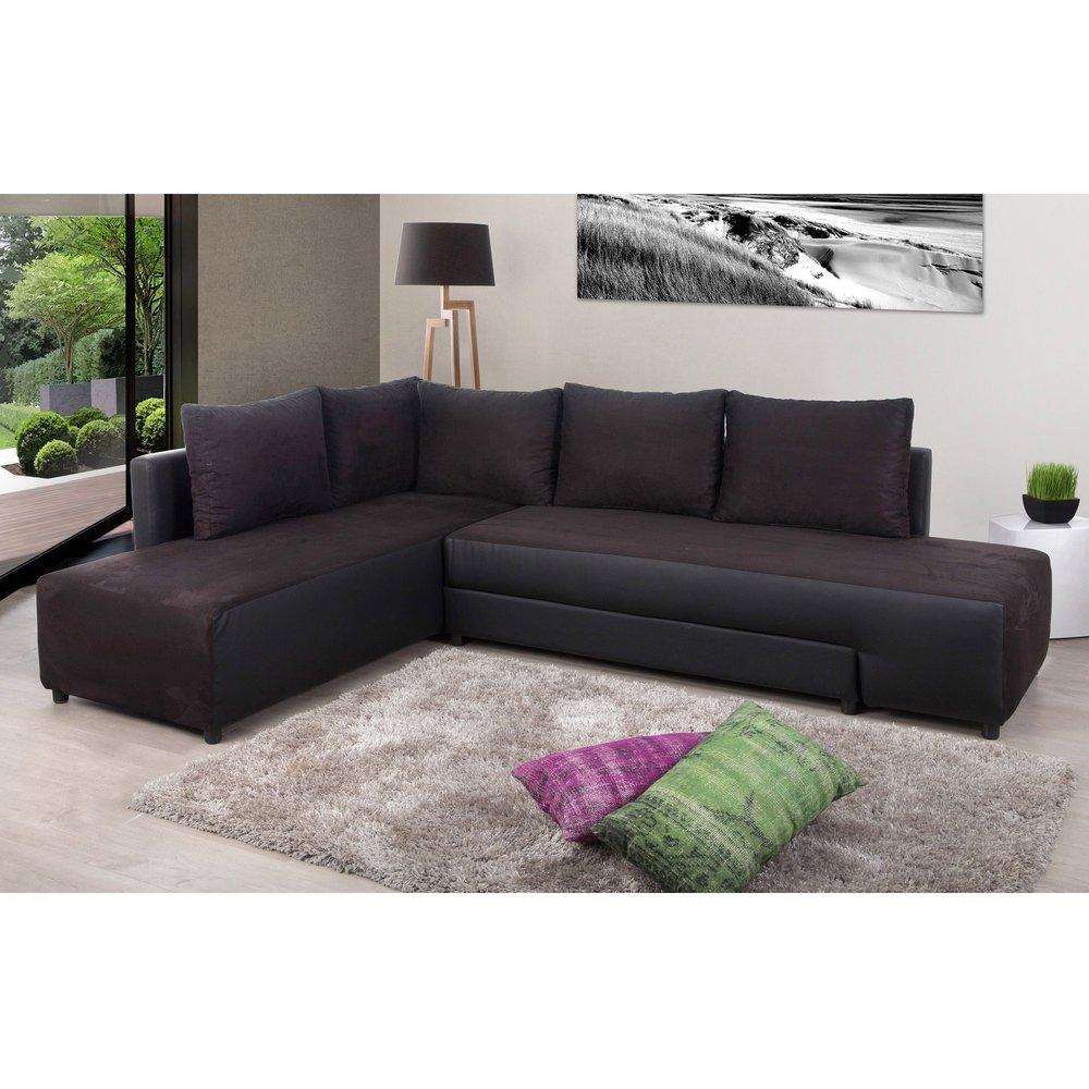 Canapé - Canapé d'angle à gauche modulable noir - REFLEXO photo 1
