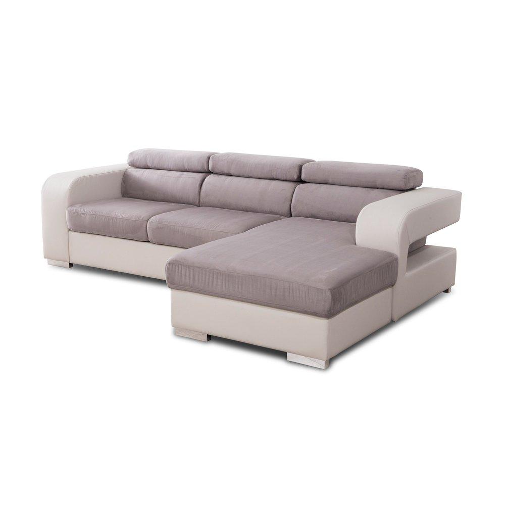 Canapé - Canapé d'angle à droite coloris gris - JUPITER photo 1