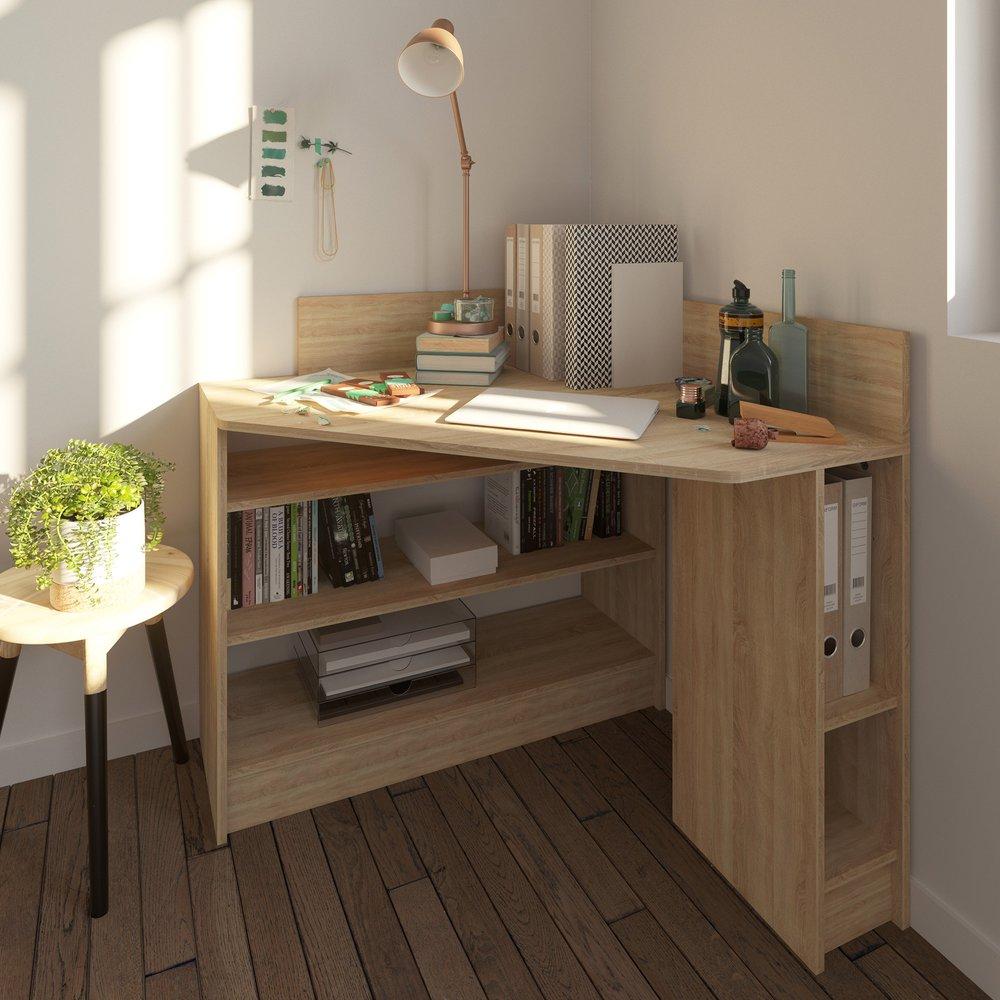 Bureau - Bureau d'angle 94x94x99 cm chêne blanchi - TITOUAN photo 1