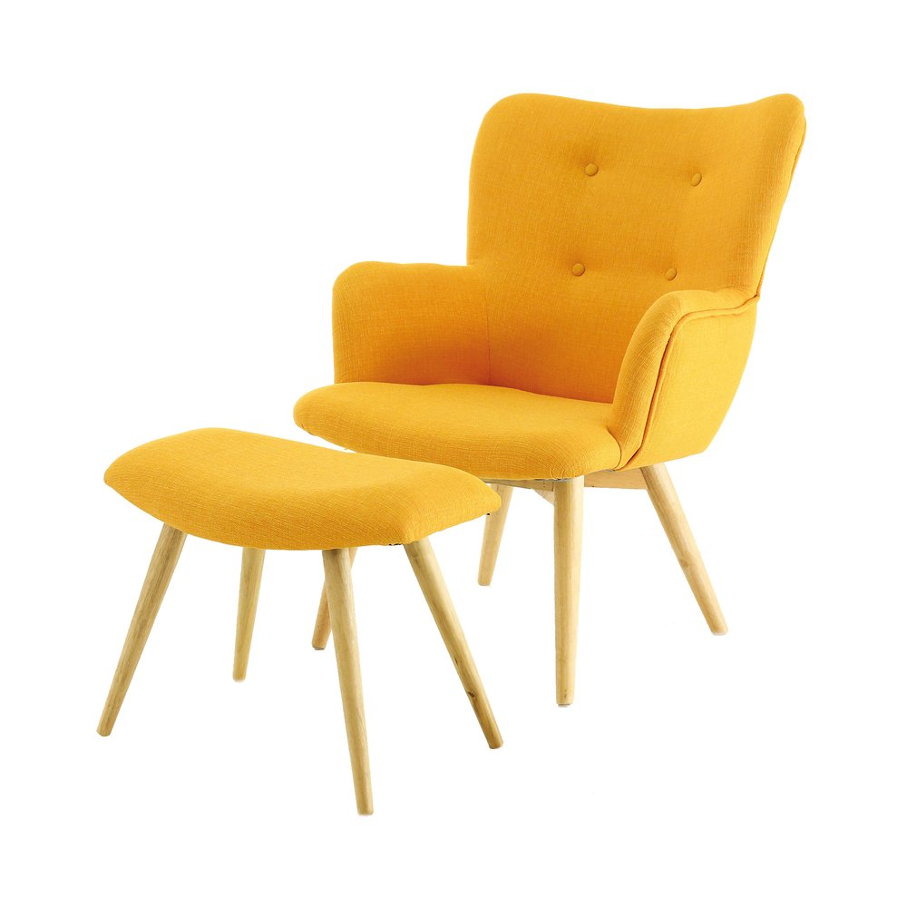 Fauteuil - Fauteuil et repose pieds jaune  - BALTIC photo 1