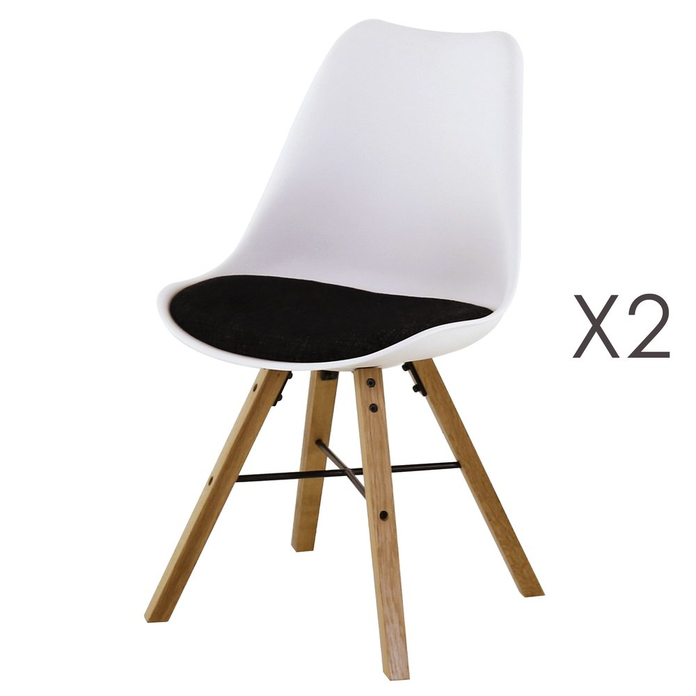 Chaise - Lot de 2 chaises de repas blanc et noir - TYA photo 1