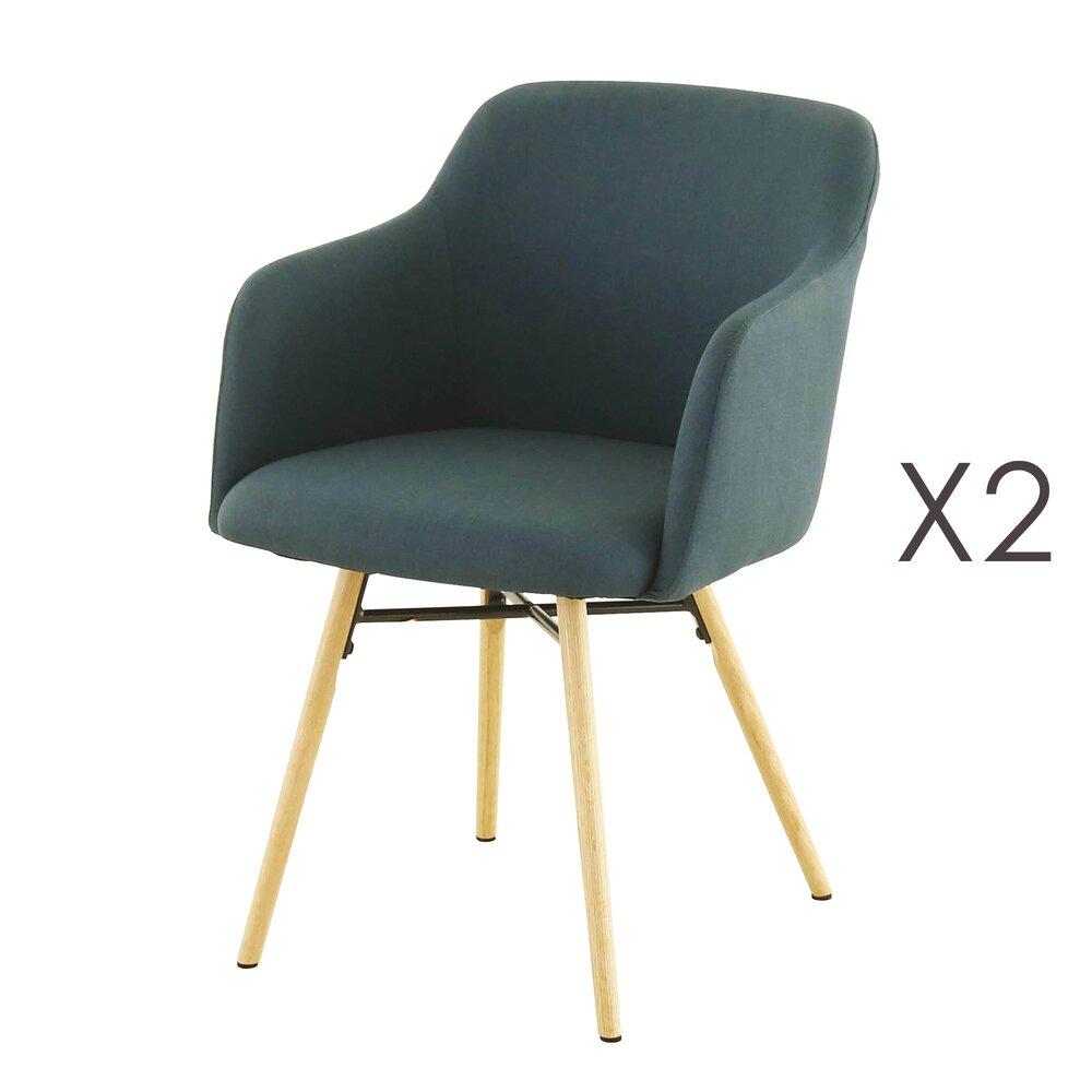 Chaise - Lot de 2 fauteuils de repas bleu foncé  -  MYA photo 1